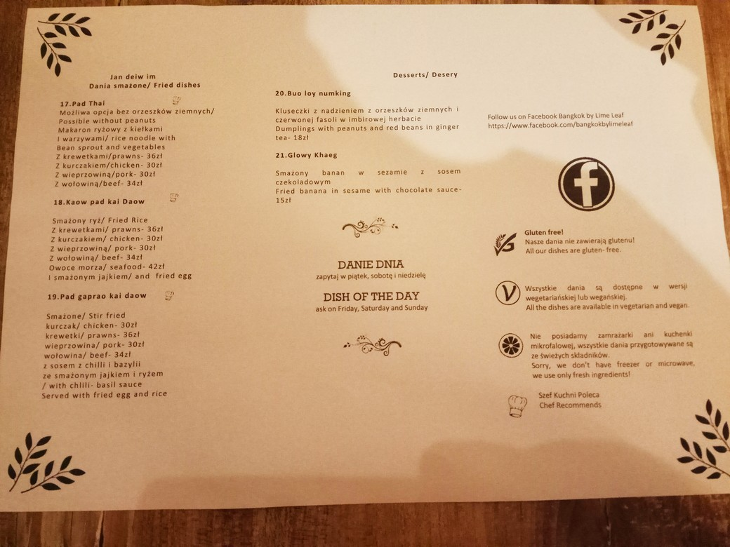 bangkok katowice menu